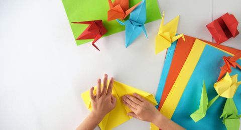 Origami Burung Bangau Pelangi